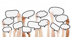 Diverse Hands HoldingSpeech Bubbles